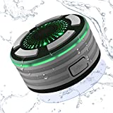 Alitoo Bluetooth Shower Speaker - Wireless IPX7 Portable Speakers Radio with Suction Cup Handsfree LED Lights HD Sound and Super Bass - Perfect for Beach - Pool - Kitchen & Home (Grey)