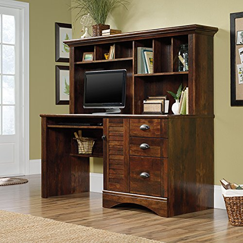 Sauder Harbor View Computer Desk with Hutch in Curado Cherry (Sauder Hutch Cherry)