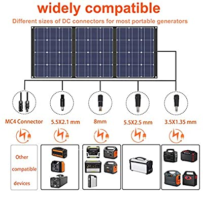 TISHI HERY 100W Portable Solar Charger 18V 12V Foldable Solar Panel for Portable Power Station/Jackery Explorer/Goal Zero Yeti/Webetop/ROCKPALS Generator, with DC Connector : Garden & Outdoor