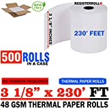 3 1/8 x 230 Thermal Paper roll 500 Pack | Mega Saver | BPA Free - Made in USA | from RegisterRoll