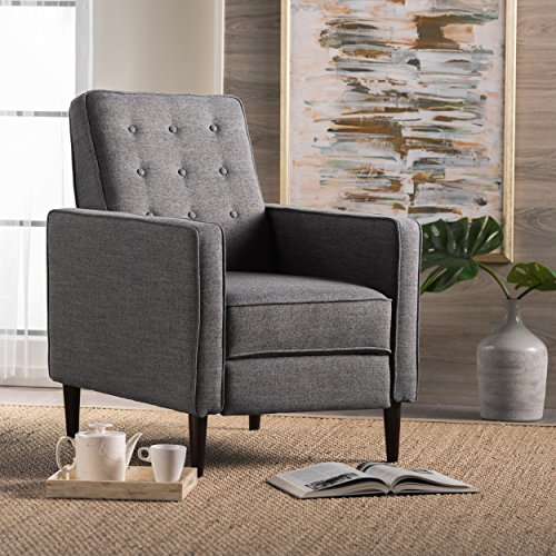 GDFStudio Living Room ~ Mid Century Modern Tufted Back Fabric Recliner (Grey) from GDF Studio