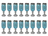 Southern Homewares Mason Stemware Wine Glass, 16-Ounce, Blue, 16-Pack
