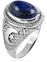 Sterling Silver Islamic Crescent Moon Lapis Lazuli Ring