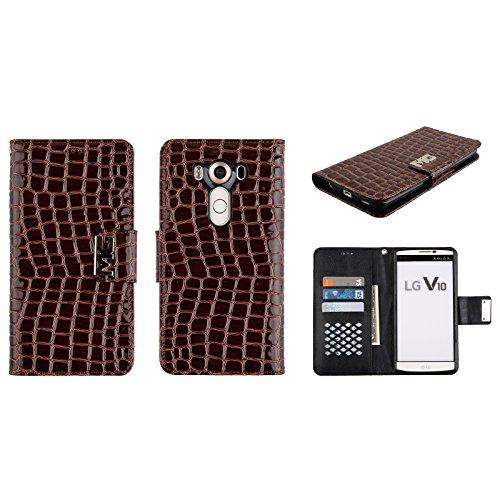 Magnetic Enamel (LG V10 Wallet Case Premium Enamel PU Leather Flip Folio Cover Card Slots Magnetic Closure Retail Packaging (Brown))