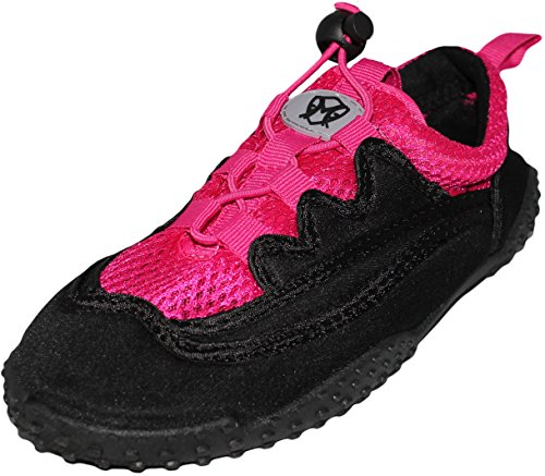 Women's Laced Water Shoes - Aqua Socks for Pool, Beach, Lake, Yoga, Exercise with Drawsting Closure - Available in 4 Colors (9, Black / Fuchsia)