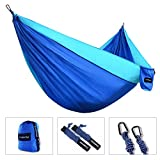 "Image of TONERONE Double Camping Hammock-Best Lightweight & Portable Two Person Hammock For Backpacking Travel, Hiking & Beach, Yard. 118""(L) x 78""(W) Blue"