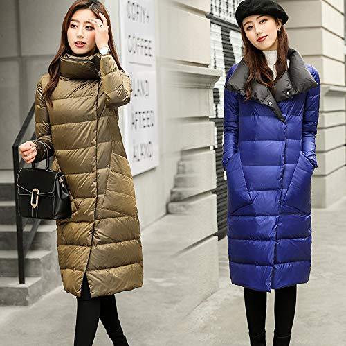 MINMINA Winter-Daunenjacke doppelseitig weiße Entendaunenjacke Damen Dicke Kragen-Daunenjacke, blau, S