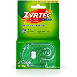 Zyrtec Prescription-Strength Allergy Medicine Tablets With Cetirizine, 3 Count, 10 mg, Travel Size