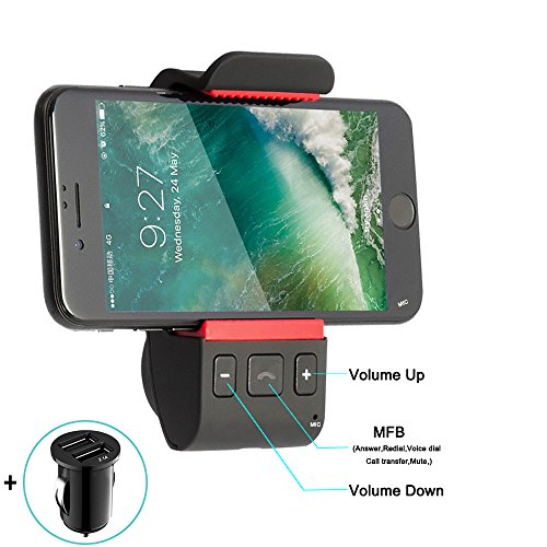 Bluetooth Car Kits for Cell Phone, Bluetooth Receiver Car Speakerphone, Hands Free Bluetooth Car Mount Cell Phone Holder for iPhone X 8 7 Plus 6 s Plus Galaxy S9 S8 Edge S7 S6 Note 8 6 5 4 3 and More