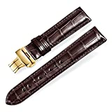 Quick Release Alligator Grain Leather Replacement Watch Bands with Gold Deployment Buckle for Men and Women 18mm/19mm/20mm/21mm/22mm/23mm/24mm