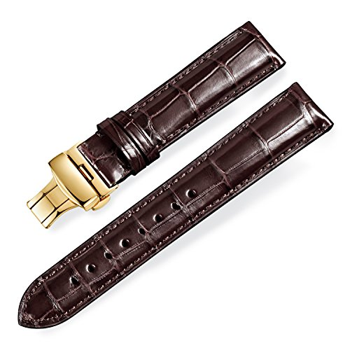 (Quick Release Alligator Grain Leather Replacement Watch Bands with Gold Deployment Buckle for Men and Women 18mm/19mm/20mm/21mm/22mm/23mm/24mm)