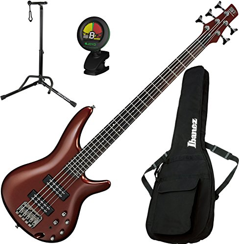 Ibanez SR305ERBM 5 String Electric Bass Guitar Root Beer Metallic with Gig Bag, Stand, and Tuner by Ibanez