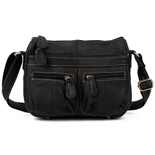 BEST DEAL- YALUXE Women's Cowhide Genuine Leather Multi Zipper pocket Small Mini Cross Body Shoulder Bag Black