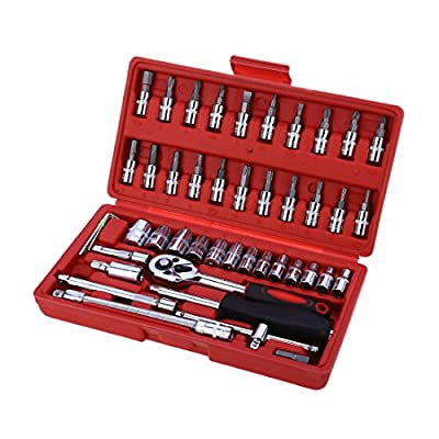 Zoostliss 46pcs 1/4-Inch Socket Set Car Repair Tool Ratchet Torque Wrench Combo Tools Kit Auto Repairing