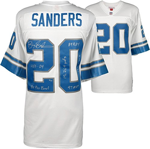 Barry Sanders Detroit Lions Autographed White Mitchell & Ness Replica Jersey with Multiple Inscriptions - Limited Edition of 20 - Fanatics Authentic Certified Barry Sanders Signed Lions Replica