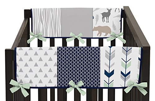 Sweet Jojo Designs Baby Crib Side Rail Guard Wrap Covers Teething Protector for Navy Blue, Mint and Grey Woodsy Boy Bedding Collection