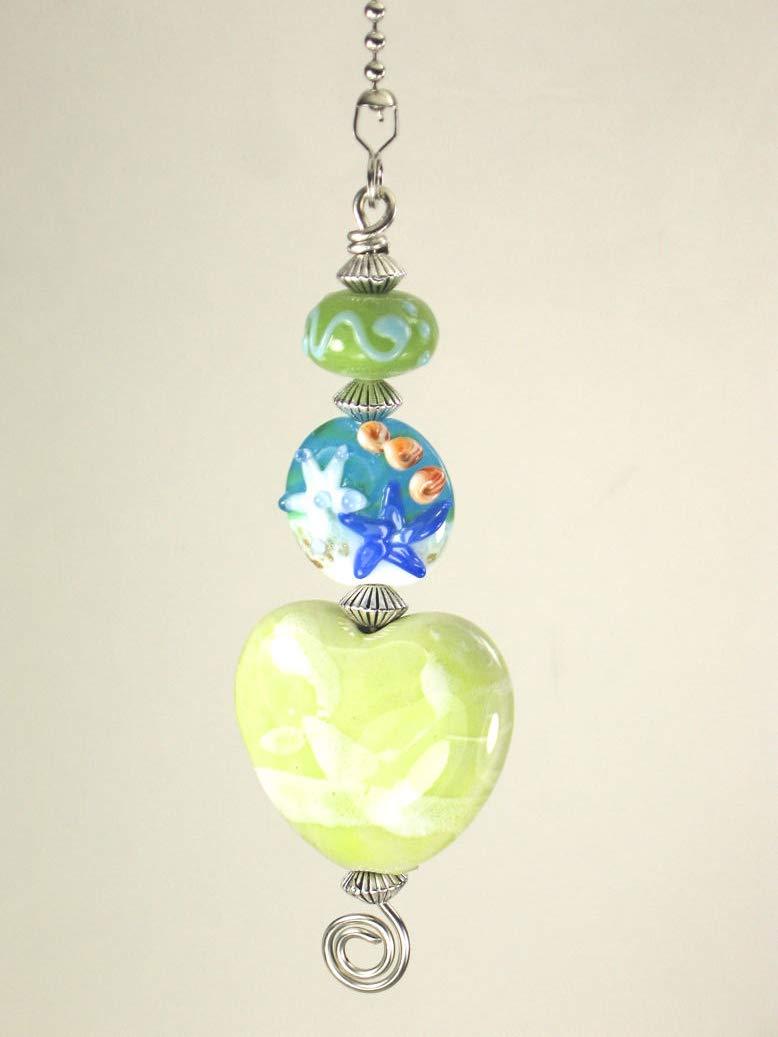 Baby Soft Pale Green Splatter Heart /& Lampwork Glass Starfish and Swirl Glass Ceiling Fan Pull Chain