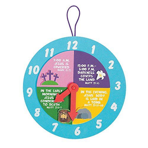 (Fun Express - Good Friday Clock ck for Easter - Craft Kits - Hanging Decor Craft Kits - Paper Plate Craft Kits - Easter - 12 Pieces)