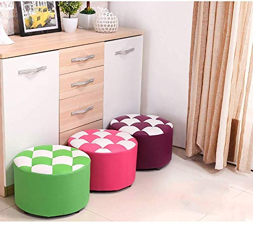 XQY Household Step Stool, Photography Folding Step Stool,Stool Leather Checker Footstool Living Room Bedroom Multifunction Change Shoes Coffee Table Sofa Dressing,Purple