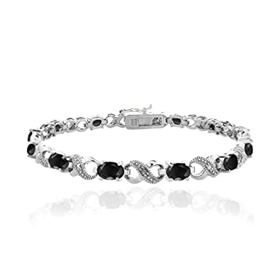 6.85ctw Genuine Sapphire Pear & Solid .925 Sterling Silver Bracelet for Women and Girls KpUdxl