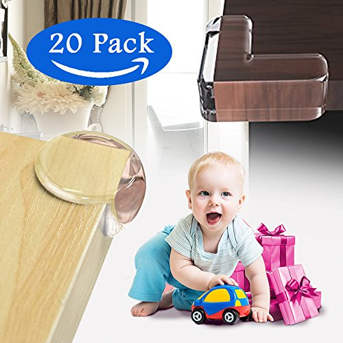 Beimu Baby Proofing Corner Protectors,Clear Ball-Shaped & L-Shaped Corner Guards Cushion, Hold by 3M Adhesive Tape , Bumpers for Table, Chair, Cabinet(20 Packs) (red)