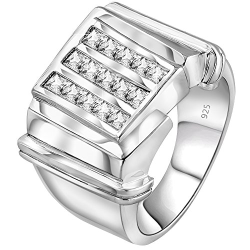 Men's Sterling Silver .925 3 Row Ring with Channel-Set Cubic Zirconia (CZ) Stones, Platinum Plated (Cz Rings That Look Real)