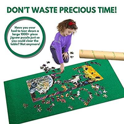 Puzzle Buddy: Jigsaw Puzzle Roll Up Felt Mat | Securely Store, Transport Unfinished Puzzles, (Includes Box Stand), Perfect for Grandparents, Grandkids and Puzzle Enthusiasts | Made In the USA - Storage Kit For Puzzles Up To 1