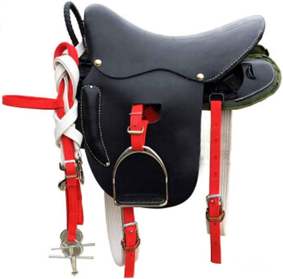 BLCC Silla de Montar de Caballo Asiento de Silla de Montar Conjunto de Silla de Montar Silla de Caballo Equipo de Caballos Taburete Sillín de Movimiento Sillín Adecuado para Ciclismo Es Black