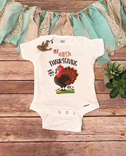 Gobble Gobble Gobble Babies First Thanksgiving Baby/'s First Happy Thanksgiving