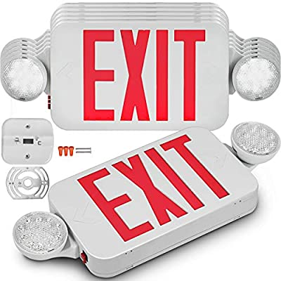 Happybuy 6/4 Pack Emergency Lights Red EXIT Sign with Dual LED Lamp Heads ABS Fire Resistance Exit Light with Emergency Light/Photoluminescent Exit Sign/Emergency Exit Light Led/Exit Alarm