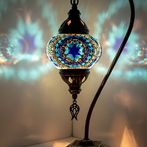 Mosaic Lamp-Handmade Turkish Mosaic Table Lamp with Mosaic Lantern,Bronze Base,Unique Table Lamp for Room Decoration (Bluecircle)