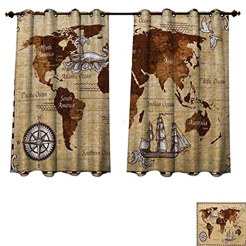 RuppertTextile Map Blackout Thermal Curtain Panel Hand Drawn Sketch Retro World Map with Lettering Old Historic Artwork Print Window Curtain Fabric Brown and Sand Brown W63 x L63 inch (World Old Orlando Furniture)