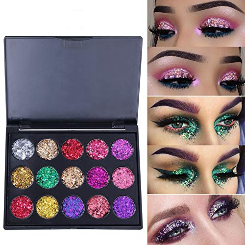 - Glitter Powder Sequins for Slime Supplies VEGOLS 15 Colour Holographic Chunky Nail Art Glitters Body Glitters for Festival Face Makeup Body Hair Nail Craft Glitter Eyeshadow Set