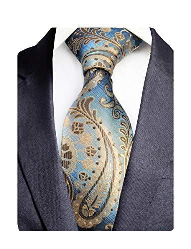GUSLESON Fashion Quality Silk Paisley Ties Mens Wedding Necktie (0786-12)