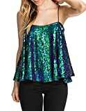 Arctic Cubic Hip Hop Dancing Style Shiny Sequin Sequined Spaghetti Strap Swing Trapeze Vest Tank Cami Shirt Camisole Top Green XL