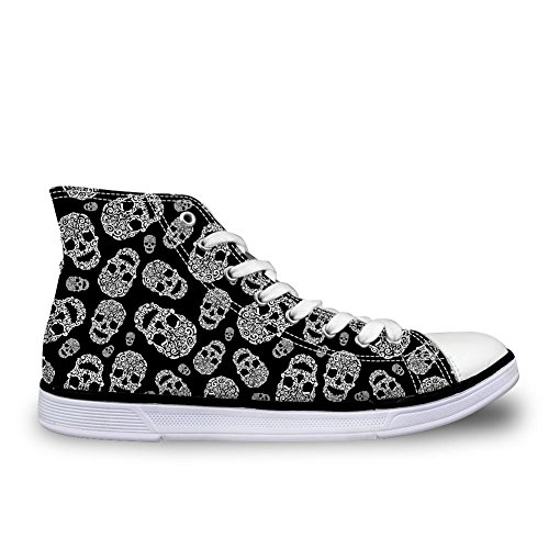 Fashion 3 Women Black Casual Print DESIGNS U Cool High Skull up Lace Shoes FOR Men Top Sneaker q1ATOn