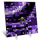 3dRose dc_125012_1 Dark and Light Purple Large and Small Digital Squares Pattern Desk Clock, 6 by 6-Inch Review