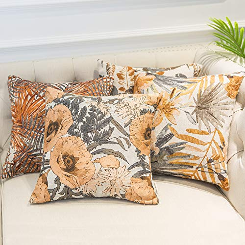 Mika Home Set of 4 Orange Garden Series Throw Pillow Covers Pillow Cases for Sofa Couch Home Decorations Flowers and Leaves 18