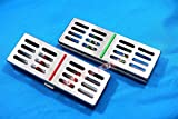 NEW SET OF 2 EA GERMAN STAINLESS DENTAL AUTOCLAVE STERILIZATION CASSETTE RACK BOX TRAY FOR 5 INSTRUMENT ( SET OF 2 EACH COLORED )