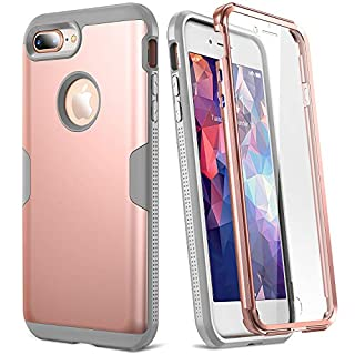 YOUMAKER Case for iPhone 8 Plus & iPhone 7 Plus, Rose Gold Full Body with Built-in Screen Protector Heavy Duty Protection Slim Fit Shockproof Cover for Apple iPhone 8 Plus (2017) 5.5 Inch - RG/Grey