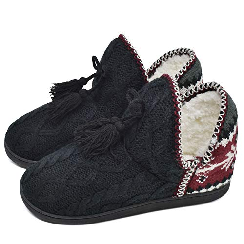 GPOS Women's Cashmere Knit House Slipper Booties Cotton Quilted Warm Indoor Ankle Boots