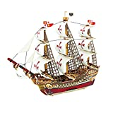 ROBOTIME 3D Wooden Puzzle Ancient Ship DIY Model Set Handcraft Birthday Christmas Gift for Boys and Girls(Santa Maria)