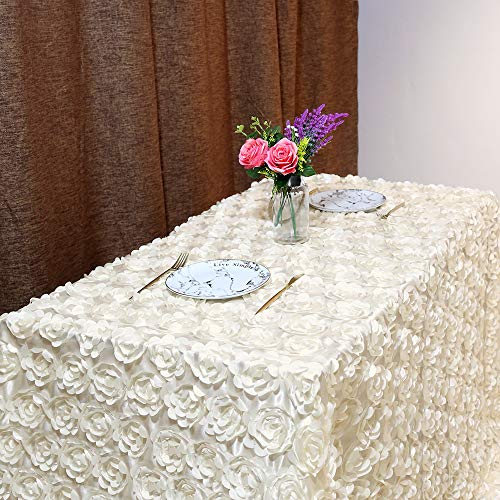 B-COOL Rosette tablecloth Rosette Ivory Florals Satin Rectangular Tablecloth For Wedding/Party 60