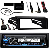JVC KDX33MBS Marine Radio Stereo Bluetooth Receiver Bundle With Metra Adapter Install Dash Kit, Handle Bar Control, Enrock Wire Antenna For 1998-13 Harley Davidson Motorcycle Touring Flht Flhx Flhtc
