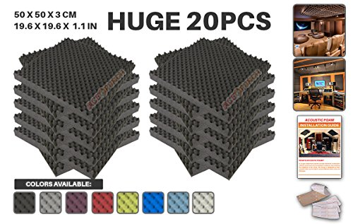 Acepunch 20 Pack BLACK Egg Crate Convoluted Acoustic Foam Panel DIY Design Studio Soundproofing Wall Tiles Sound Insulation with Free Mounting Tabs 19.6
