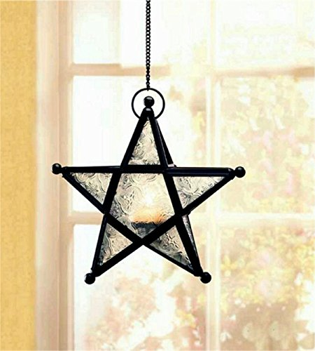 Clear Glass Hanging Star Lantern Indoor Outdoor (Star Fireplace Pillar)