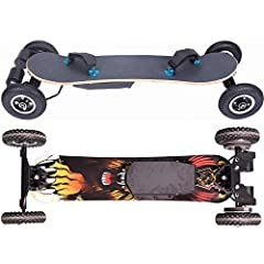 Electric cross-country skateboardMotor drive: dual motorMileage: 12.4 miles or 35KMDeck material: maple, bambooHigh speed mode: 24.8 mph, 40KM / H.Carrying capacity: 264 pounds or 120KGRemote frequency band: 2.4GHzRemote control distance: 10 ...