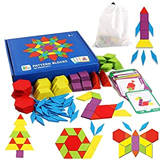 Educational Toys for 3-8 Year Old Boys, Wooden Pattern Blocks Puzzles for Toddler Kids Ages 3-5 5-7 Toys for 3-8 Year Old Girls Gifts for 3-8 Year Old Boys Girl Birthday Present