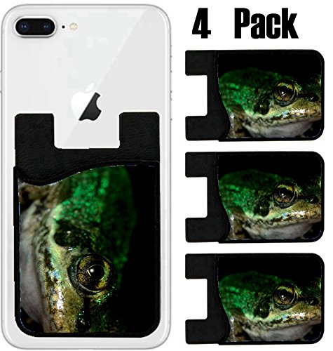 MSD Phone Card holder, sleeve/wallet for iPhone Samsung Android and all smartphones with removable microfiber screen cleaner Silicone card Caddy(4 Pack) common frog on black macro IMAGE 34369592