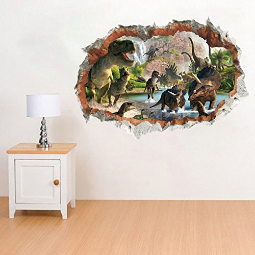 MLM 3D Dinosaurs Simulation Crack Hole Stickers Self-adhesive Peel and Stick Wall Decal Mural Living Room Bedroom Kids' Room Nursery Decor Playroom Decor by MLM (Image #2)